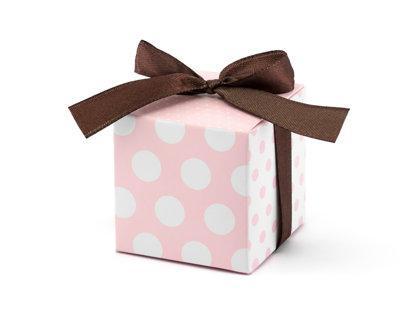 Kastītes, rozā baltu ar brūnām lentītēm