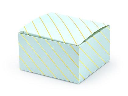 Kastītes, gaiši zilā krāsā ar zelta strīpām
