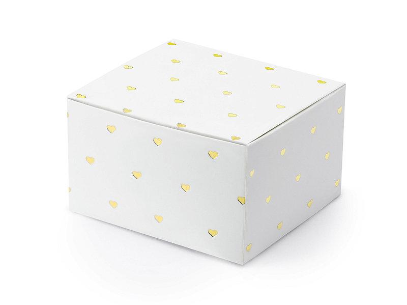 Kastītes, baltā krāsā ar zelta sirsniņām