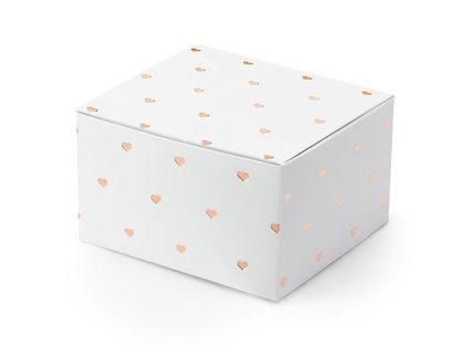 Kastītes, baltā krāsā ar rozā zelta sirsniņām
