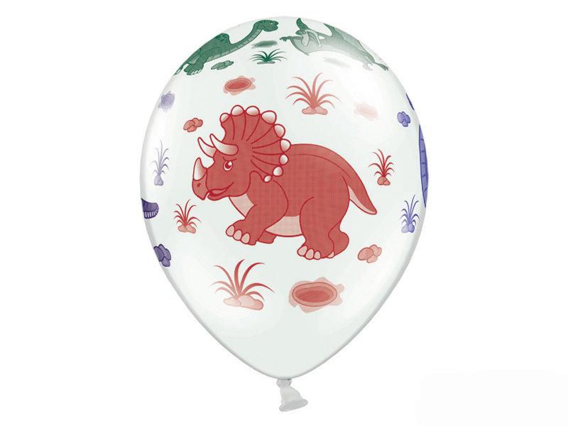 """30 cm lateksa balons """"Dinozauri"""", baltā krāsa - 1 gb."""