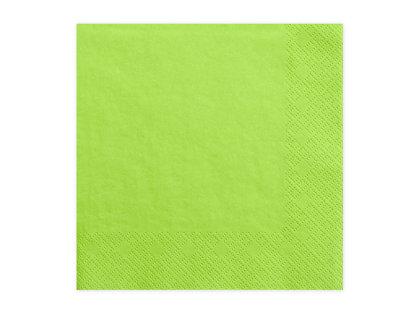 Vienkrāsainas salvetes, gaiši zaļā krāsā, 20 gb, 33x33 cm, 3 slāņi