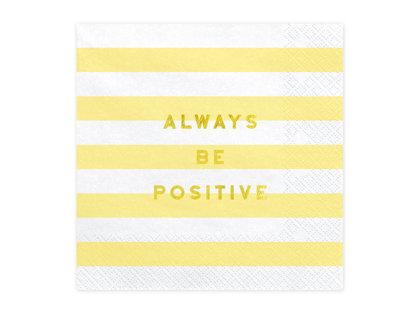 """Salvetes """"Always be positive"""", dzeltenā un baltā krāsa, 20 gb"""