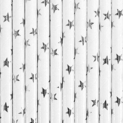"""Salmiņi """"ar sudraba zvaigznēm"""", baltā krāsa, 10 gb"""