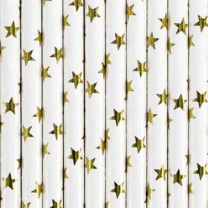 """Salmiņi """"ar zelta zvaigznēm"""", baltā krāsa, 10 gb"""