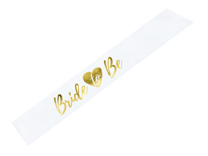 Topošās līgavas lente baltā krāsā