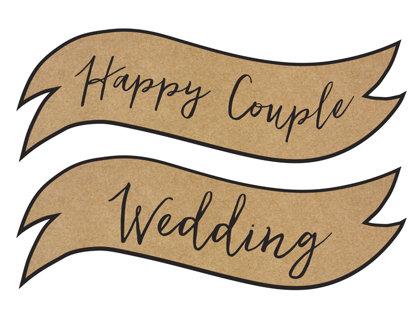 Zīmes ar uzrakstiem: Happy Couple un Wedding