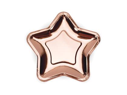 """Papīra šķīvīši """"Zvaigznes"""", rozā zelts, 18 cm"""