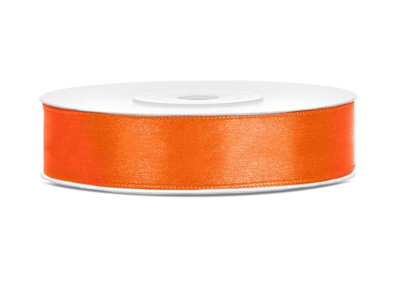 Satīna lente, 12mm/25m, oranžā krāsa