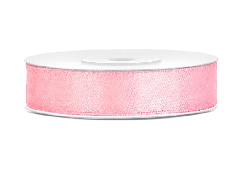 Satīna lente, 12mm/25m, gaiši rozā krāsa