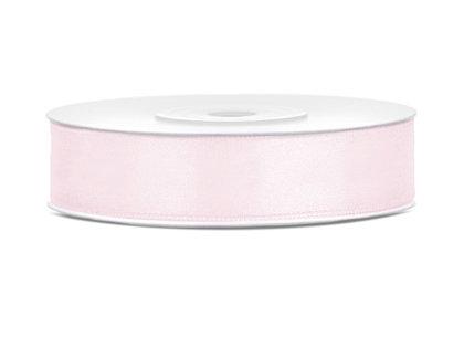 Satīna lente, 12mm/25m, pūdera rozā krāsa