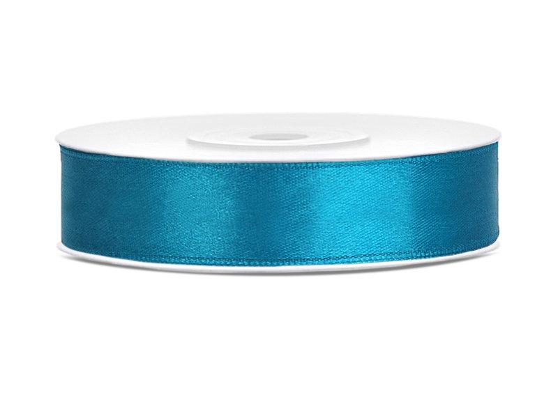Satīna lente, 12mm/25m, tirkīzā krāsa