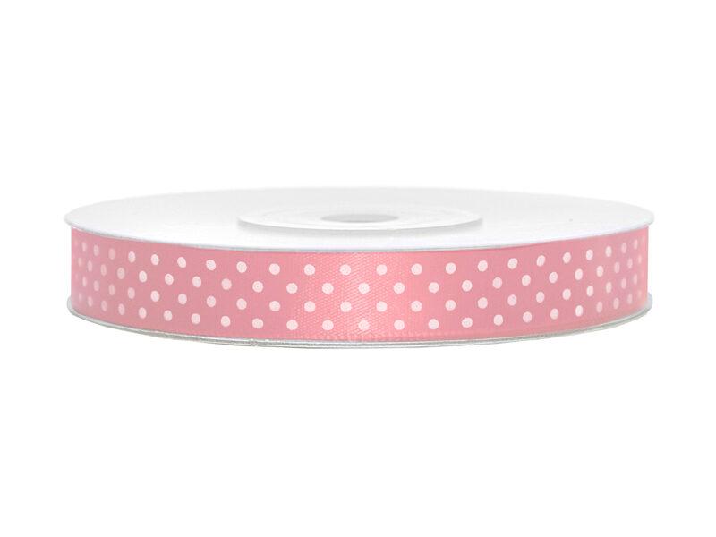 Satīna lente, 12mm/25m, rozā krāsa ar baltiem punktiņiem