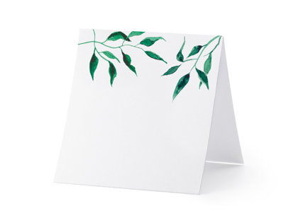 Galda kartiņas, baltā krāsā ar zaļām lapām, 25 gb