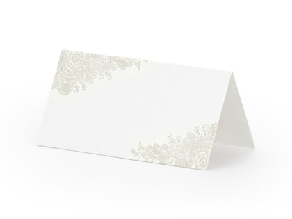 Galda kartiņas, baltā krāsā ar sudraba ziediem, 25 gb