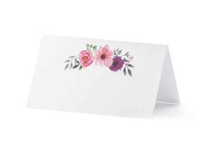 Galda kartiņas, baltā krāsā ar rozā ziediņiem, 25 gb