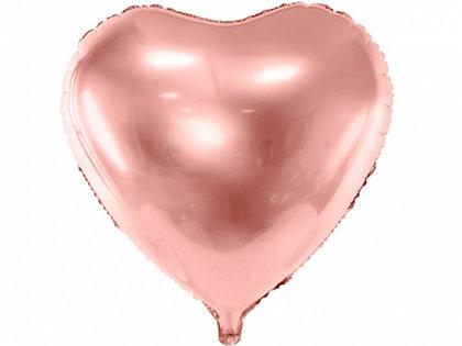 """Folija balons """"sirds"""", 61 cm, rozā zelts"""