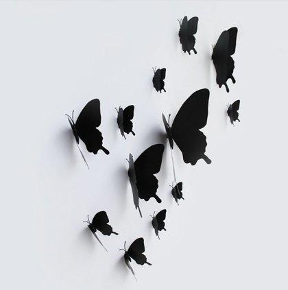 Taureņi, melnā krāsā no vinila, 12 gb
