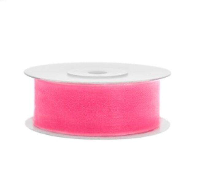 Šifona lente, neona gaiši rozā, 25 mm x 25 m