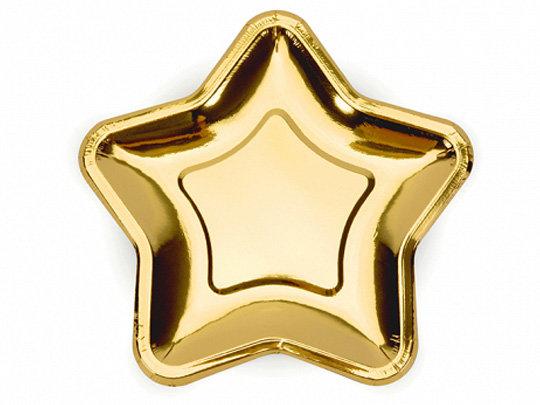 """Papīra šķīvīši """"Zvaigznes"""", zelta krāsa, 23 cm"""