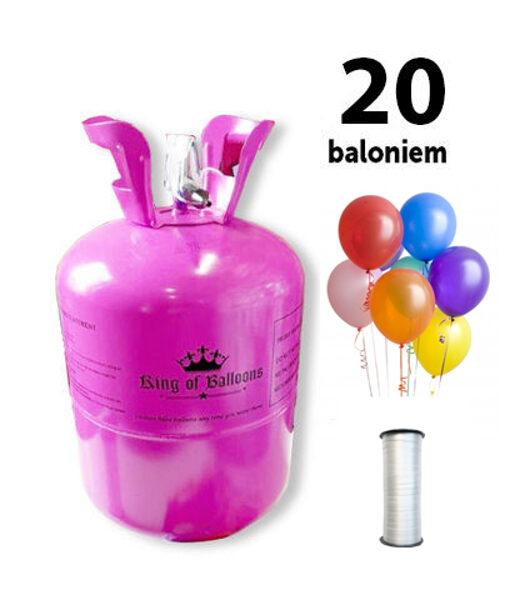 Hēlija gāzes balons 20 baloniem ar 20 baloniem un lenti komplektā