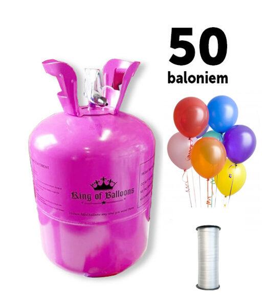 Hēlija gāzes balons 50 baloniem ar 50 baloniem un lenti komplektā