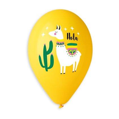 """30 cm lateksa balons """"Hola, Lama!"""", dzeltenā krāsa - 1 gb."""