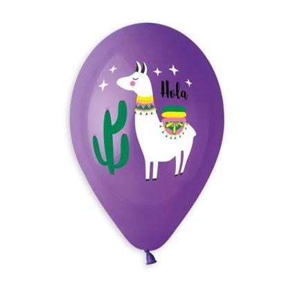 "30 cm lateksa balons ""Hola, Lama!"", violetā krāsa - 1 gb."