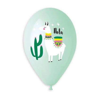 """30 cm lateksa balons """"Hola, Lama!"""", zaļā krāsa - 1 gb."""
