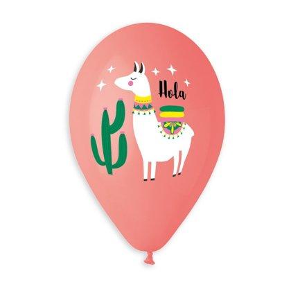 """30 cm lateksa balons """"Hola, Lama!"""", sarkanā krāsa - 1 gb."""
