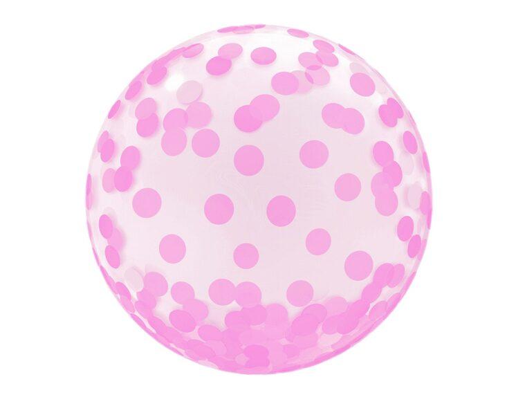 """Apaļš caurspīdīgs balons """"Kristāls - rozā aplīši"""", ar uzdruku, 46 cm"""