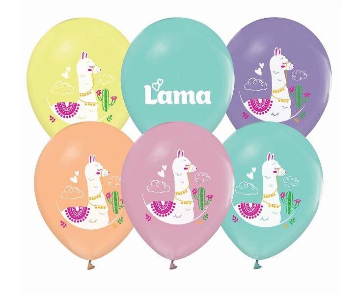 """Lateksa baloni """"Lama"""", krāsaini, 27 cm, 5 gb. iepakojums"""