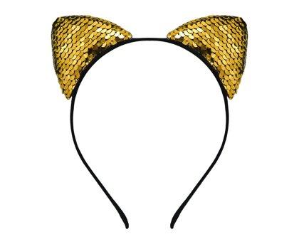 """Stīpiņa """"Kaķa ausis"""" ar spīdumiņiem, zelta krāsa"""