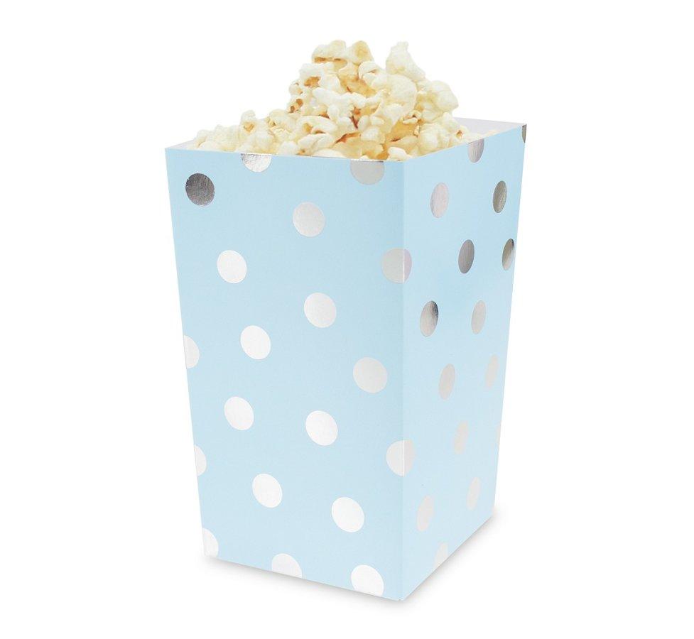Popkorna trauki gaiši zilā krāsā ar sudraba punktiņiem, 4 gb