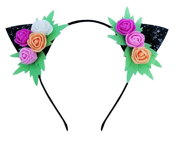 """Stīpiņa """"Kaķa ausis ar rozītēm"""""""