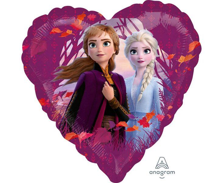 "Folija balons ""Frozen 2"", sirds formā, 43 cm"