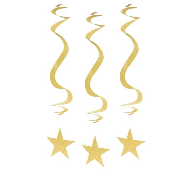 Piekaramais dekors zvaigznes, zelts, gliteris, 3 gb
