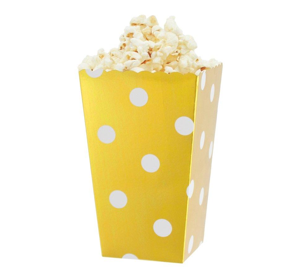Popkorna trauki zelta krāsā ar baltiem punktiņiem, 4 gb