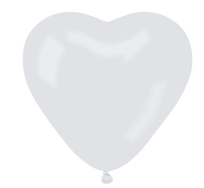 Sirds formas lateksa balons, baltā krāsa, 44 cm