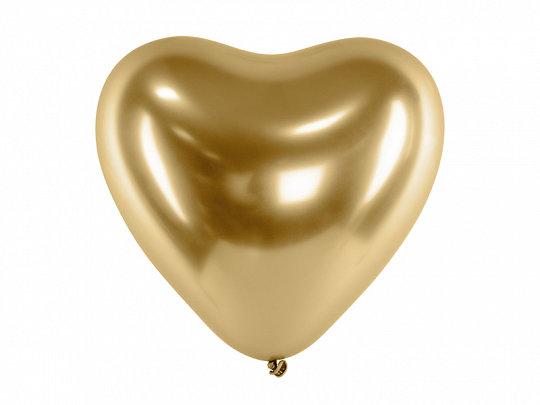 30 cm hromēts sirds formas balons, zelta krāsa - 1 gb.