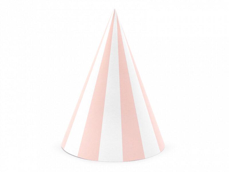 Papīra cepures, baltās ar rozā stripām, 6 gb