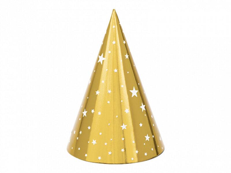 Papīra cepures ar zvaigznītēm, zelta krāsā, 6 gb