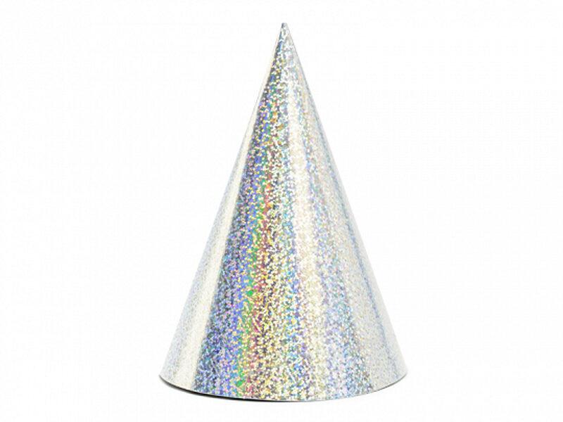 Papīra cepures sudraba krāsā, hologrāfiskās, 6 gb