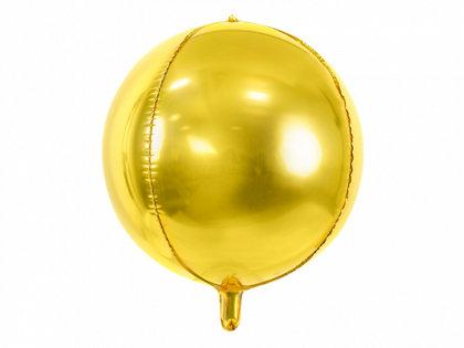 Folija balons, apaļš, 40 cm, zelta krāsa