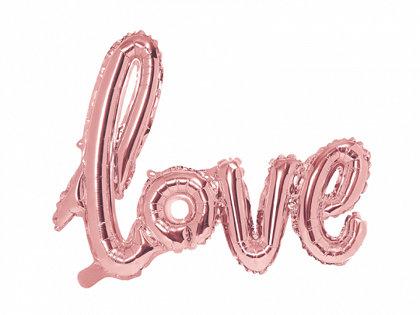 """Piepūšamais folija uzraksts """"love"""", rozā zelts, 73x59cm"""