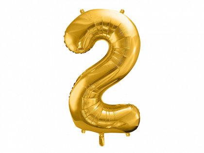 """Folija balons """"2"""", 86 cm, zelta krāsa"""