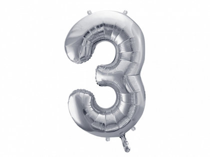 """Folija balons """"3"""", 86 cm, sudraba krāsa"""