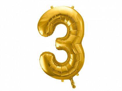 """Folija balons """"3"""", 86 cm, zelta krāsa"""