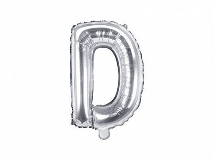 """Folija burts """"D"""", 35 cm, sudraba krāsa"""