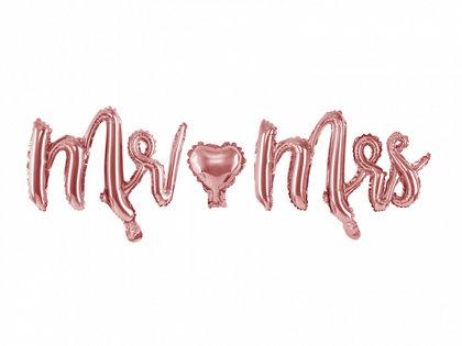 """Piepūšamais folija uzraksts """"Mr-Mrs"""", rozā zelts, 69 x 125 cm"""